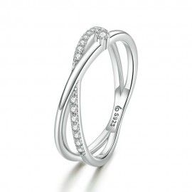 Sterling silver ring Interweaving lines
