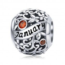 Sterling silver charm Birthday month January