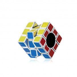 Zilveren bedel Rubiks kubus