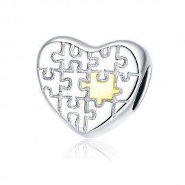 Zilveren bedel Puzzel van liefde