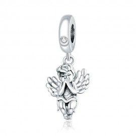 Zilveren hangende bedel Kleine engel