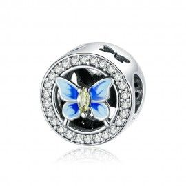 Sterling silver charm Colorful butterfly