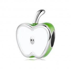 Zilveren bedel Groene appel