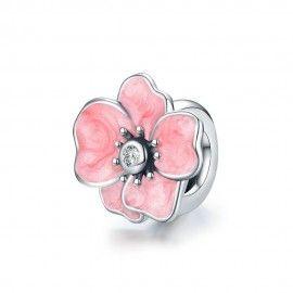 Sterling silver stopper Pink flower