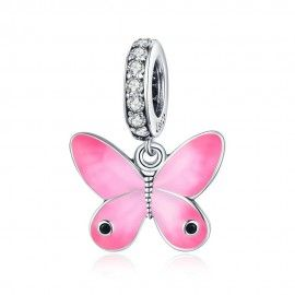Charm pendente in argento Farfalla rosa