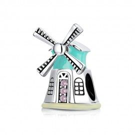 Sterling silver charm Windmill