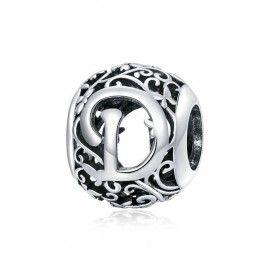 Zilveren alfabet bedel Romantisch letter D