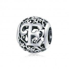 Zilveren alfabet bedel Romantisch letter E