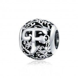 Zilveren alfabet bedel Romantisch letter F
