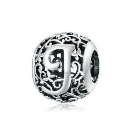 Zilveren alfabet bedel Romantisch letter J
