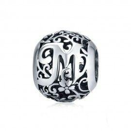 Zilveren alfabet bedel Romantisch letter M