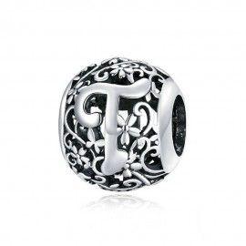 Zilveren alfabet bedel Romantisch letter T