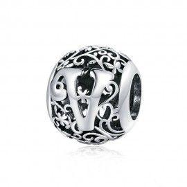 Zilveren alfabet bedel Romantisch letter V