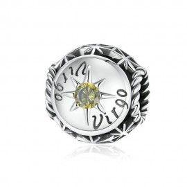 Sterling silver charm Zodiac sign Virgo with zirconia