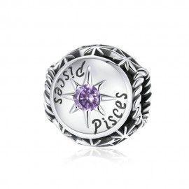 Sterling silver charm Zodiac sign Pisces with zirconia