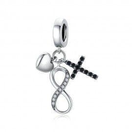 Zilveren hangende bedel Oneindigheidssymbool