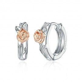 Silver earrings Rose vine