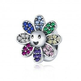 Sterling silver charm Colorful sunflower