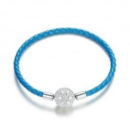 Bracelet en cuir tressé Flocon de neige