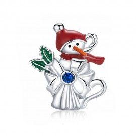 Zilveren bedel Sneeuwpop in een beker
