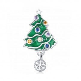 Zilveren bedel Kerstboom