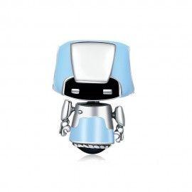 Zilveren bedel Robot jongen