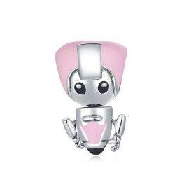 Zilveren bedel Robot meisje