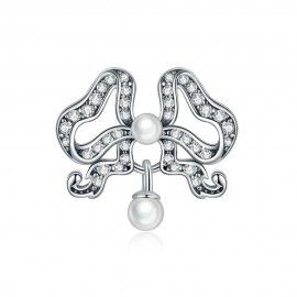 Sterling silver charm Butterfly with pearl