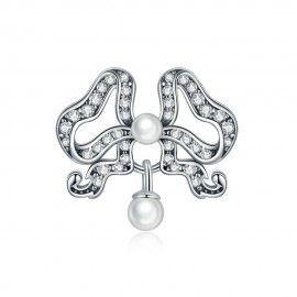 Zilveren bedel Vlinder met parel