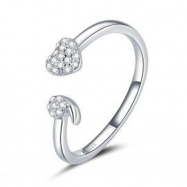 Anello in argento sterling A forma di cuore