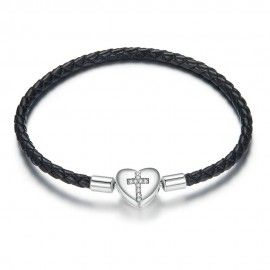 Woven leather charm bracelet Cross