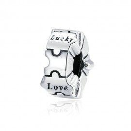 Zilveren bedel Liefde, geluk, lach, droom