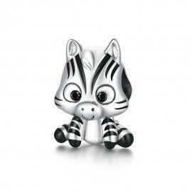 Charm in argento Zebra