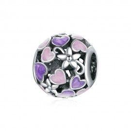 Sterling silver charm Enamel heart