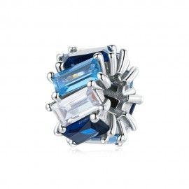 Zilveren bedel Blauw vierkant