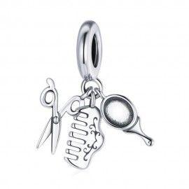 Sterling silver pendant charm Scissors, comb, mirror