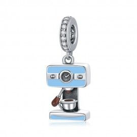 Sterling silver pendant charm Coffee machine