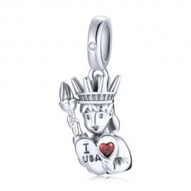 Sterling silver pendant charm I love USA