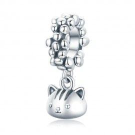 Sterling silver pendant charm Swinging kitten