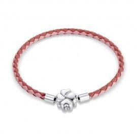 Pulsera en cuero trenzado Suerte rosa