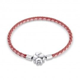 Woven leather charm bracelet Luck pink
