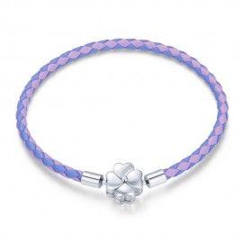Woven leather charm bracelet Luck purple