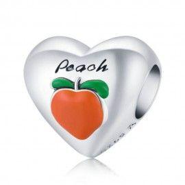 Sterling silver charm I love peach