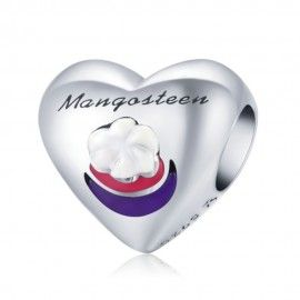 Sterling silver charm I love mangosteen