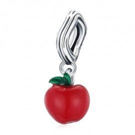 Zilveren hangende bedel Rode appel