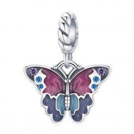 Zilveren hangende bedel Fantasierijke vlinder
