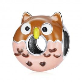 Sterling silver charm Owl donut