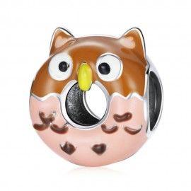 Zilveren bedel Uil donut