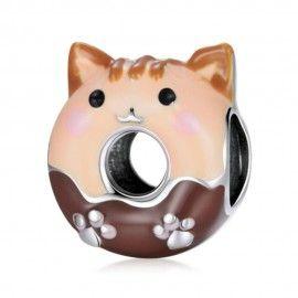 Zilveren bedel Kat donut