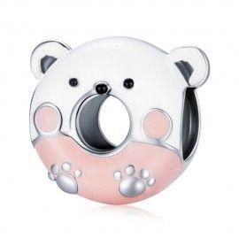 Sterling silver charm Bear donut